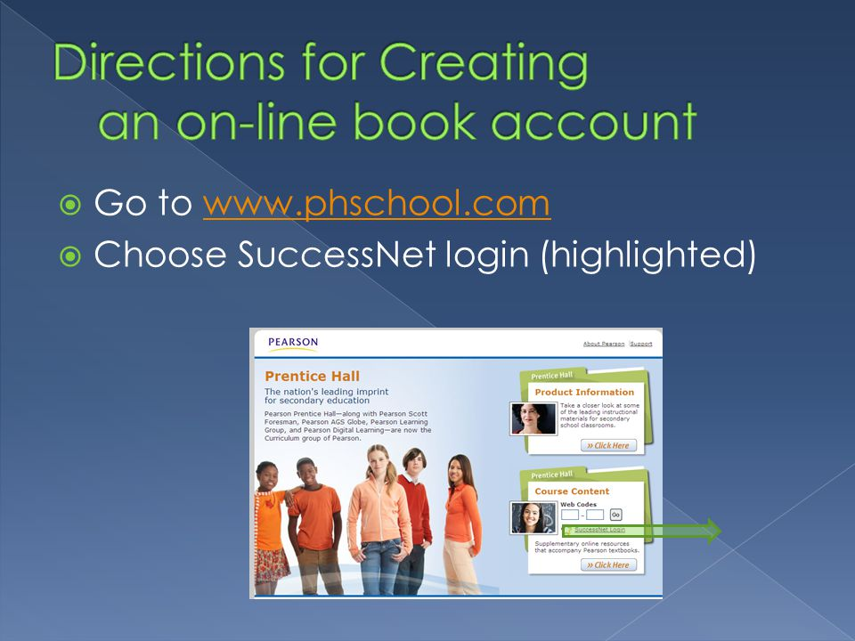Go to www.phschool.comwww.phschool.com Choose SuccessNet login (highlighted)