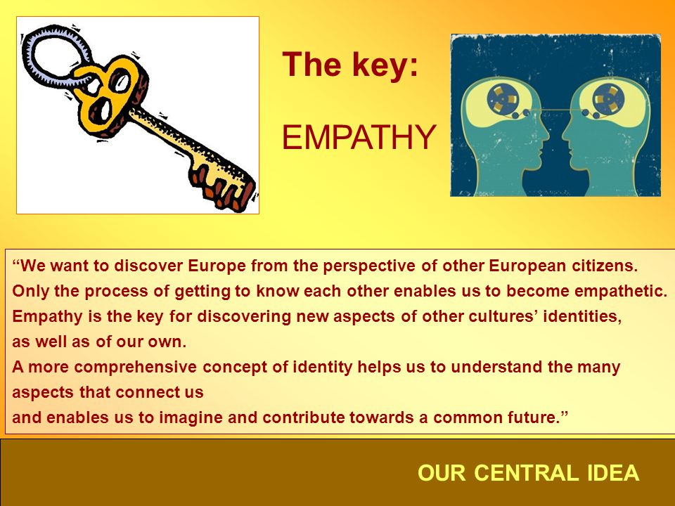 OUR CENTRAL IDEA The key: EMPATHY We want to discover Europe from the perspective of other European citizens. Only the process of getting to know each