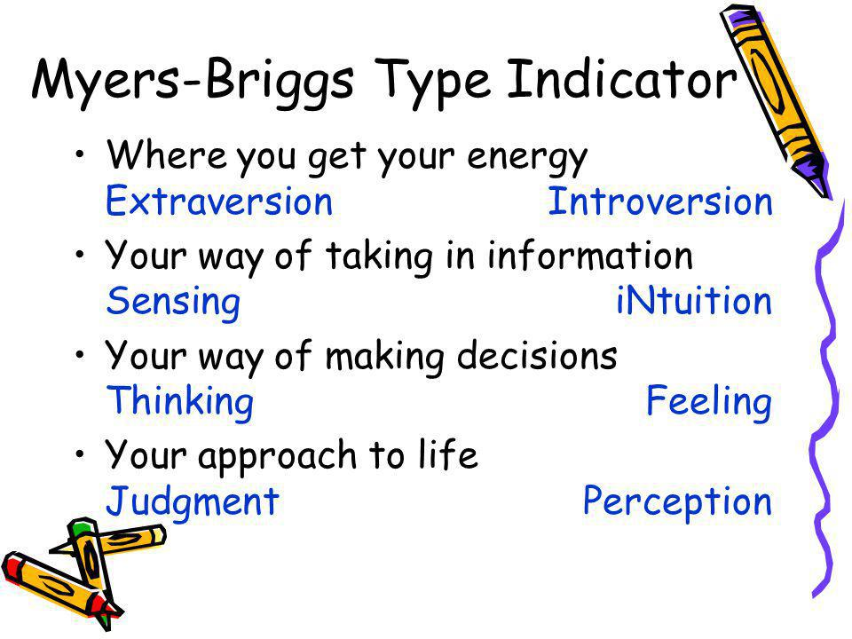 Where you get your energy ExtraversionIntroversion Your way of taking in information SensingiNtuition Your way of making decisions ThinkingFeeling Your approach to life JudgmentPerception Myers-Briggs Type Indicator