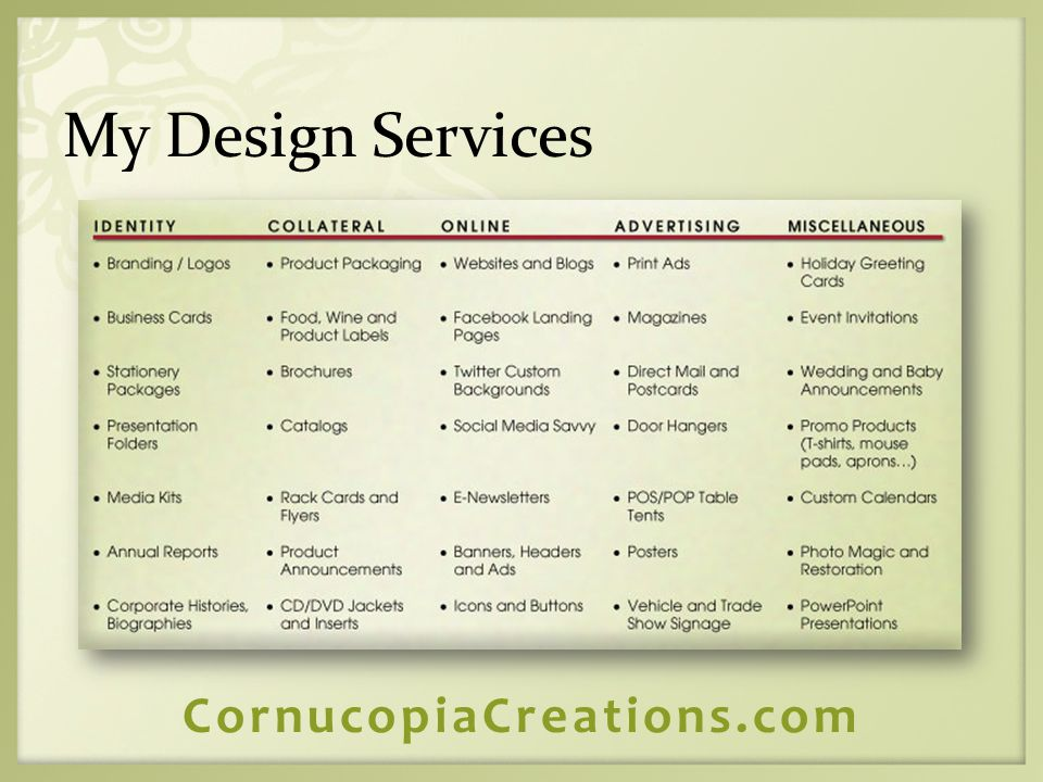 My Design Services CornucopiaCreations.com