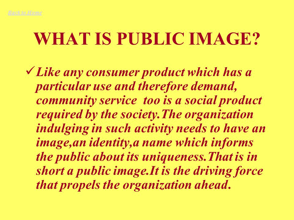 WHAT IS PUBLIC IMAGE.