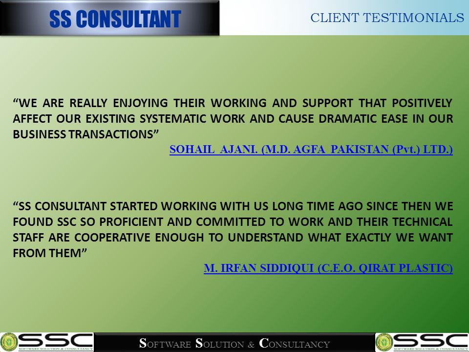 WE DID TRY AND TEST A COUPLE SOLUTIONS FROM DIFFERENT FIRMS THAT COULD NOT MEET ALL OF OUR REQUIREMENT, FINALLY WE CAME ACROSS WITH SS CONSULTANT.