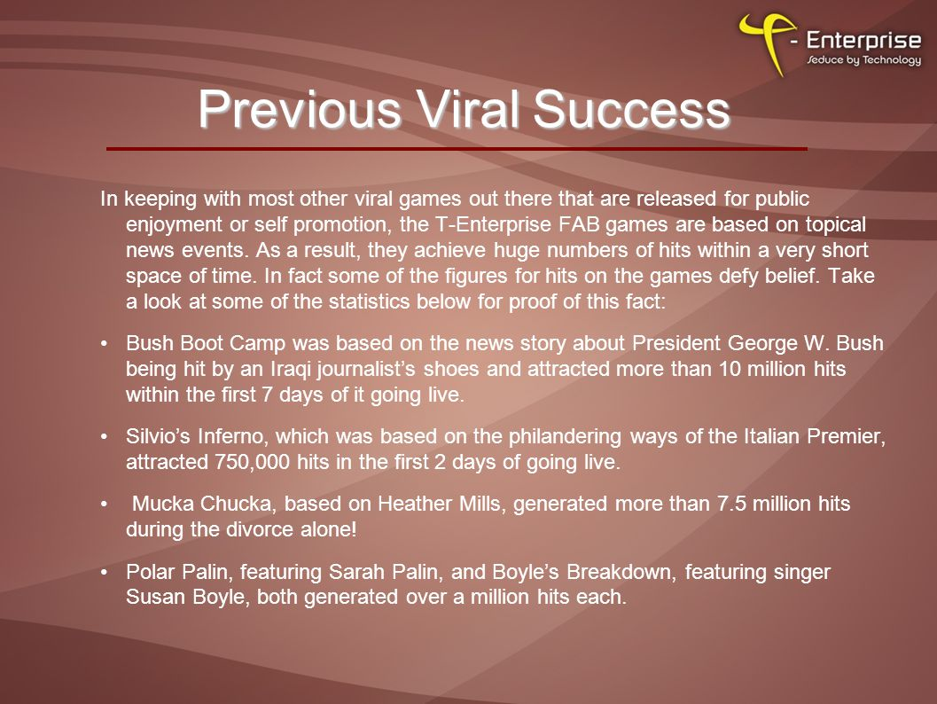Previous Viral Success In keeping with most other viral games out there that are released for public enjoyment or self promotion, the T-Enterprise FAB games are based on topical news events.