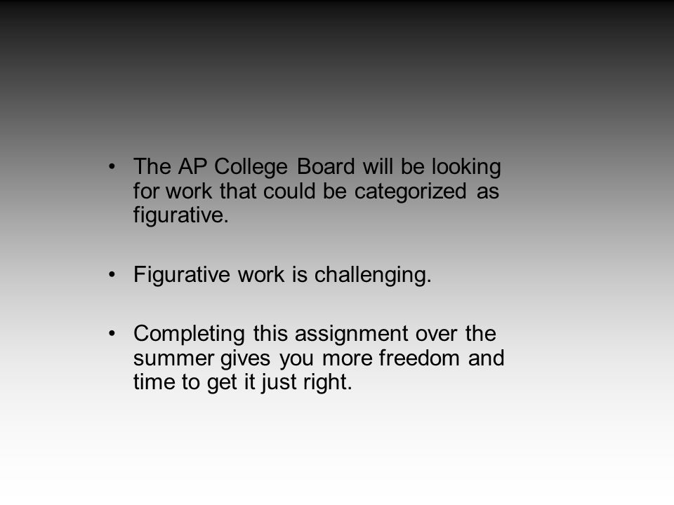 The AP College Board will be looking for work that could be categorized as figurative. Figurative work is challenging. Completing this assignment over