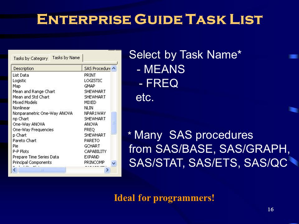 16 Enterprise Guide Task List Select by Task Name* - MEANS - FREQ etc. * Many SAS procedures from SAS/BASE, SAS/GRAPH, SAS/STAT, SAS/ETS, SAS/QC Ideal
