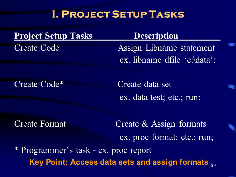 23 I. Project Setup Tasks Project Setup Tasks Description_________ Create Code Assign Libname statement ex. libname dfile c:\data; Create Code* Create