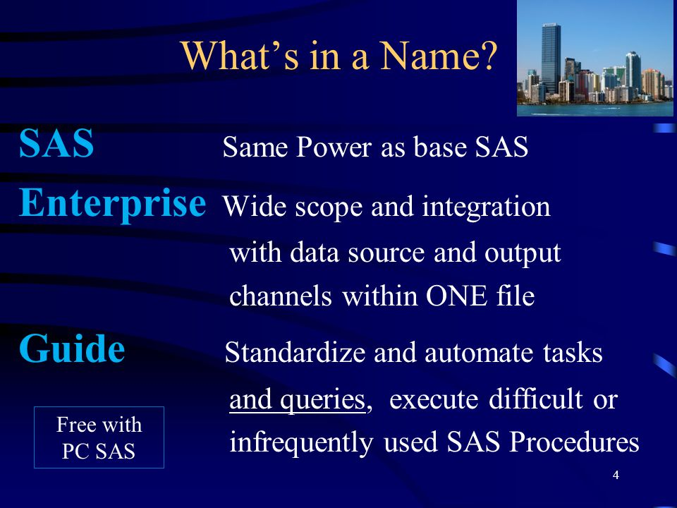 Whats in a Name? SAS Same Power as base SAS Enterprise Wide scope and integration with data source and output channels within ONE file Guide Standardi