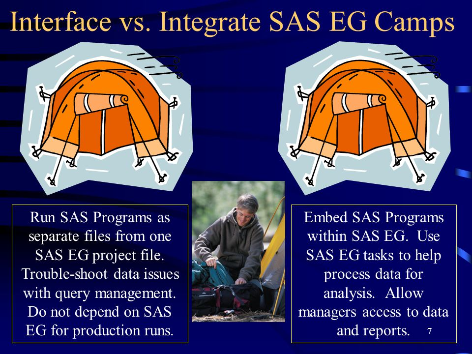 7 Interface vs. Integrate SAS EG Camps Run SAS Programs as separate files from one SAS EG project file. Trouble-shoot data issues with query managemen
