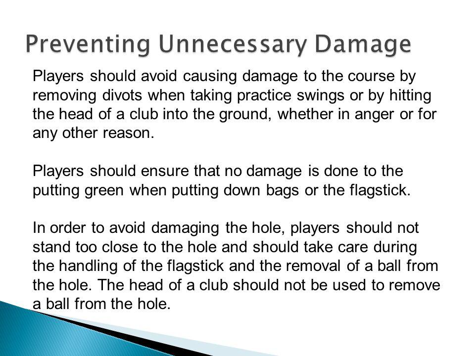 Players should carefully repair any divot holes made by them and any damage to the putting green made by the impact of a ball (whether or not made by the player himself).