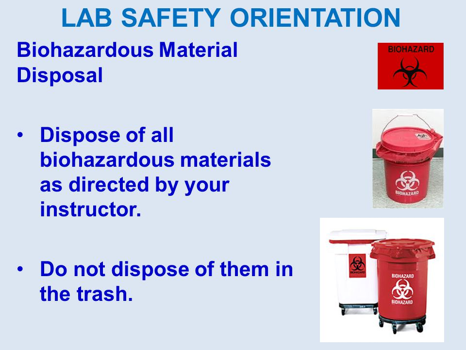 Biohazardous Material Disposal Dispose of all biohazardous materials as directed by your instructor. Do not dispose of them in the trash. LAB SAFETY O