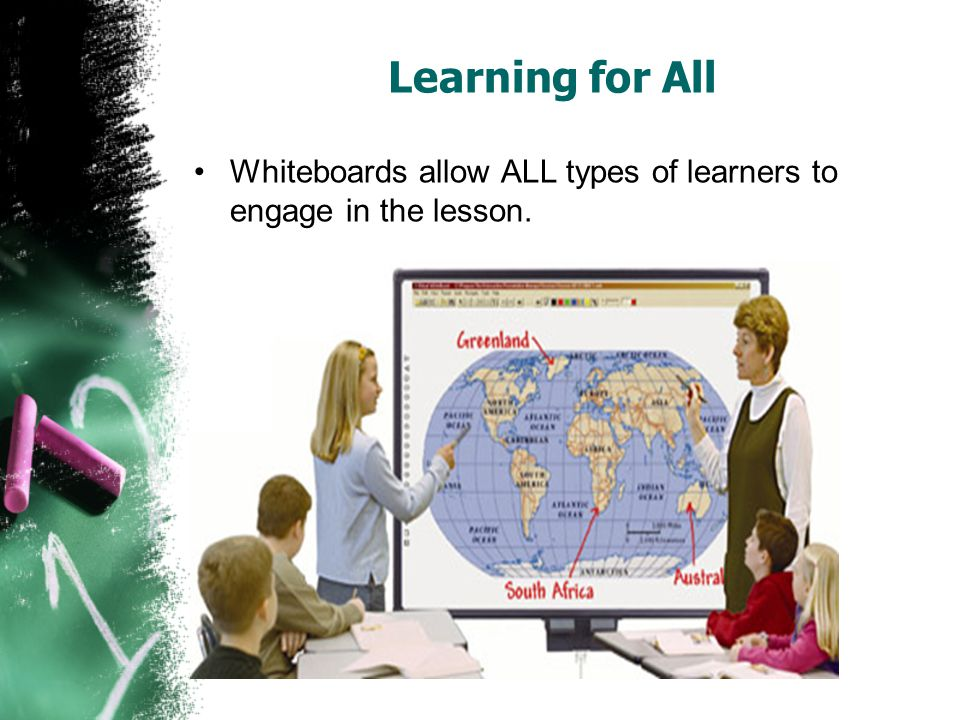 Learning for All Whiteboards allow ALL types of learners to engage in the lesson.