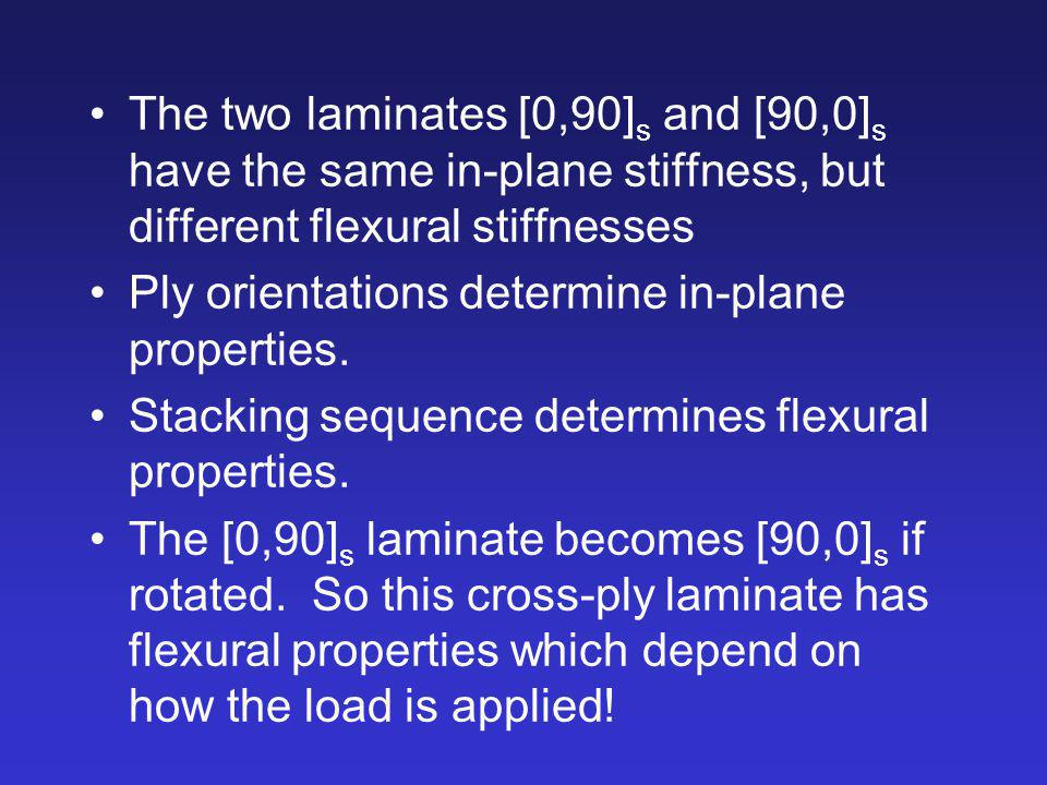 The two laminates [0,90] s and [90,0] s have the same in-plane stiffness, but different flexural stiffnesses Ply orientations determine in-plane prope