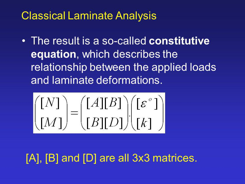 The result is a so-called constitutive equation, which describes the relationship between the applied loads and laminate deformations. Classical Lamin