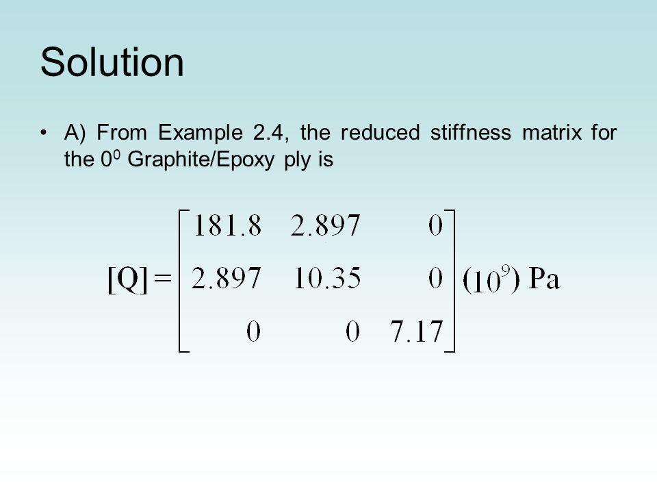 Solution A) From Example 2.4, the reduced stiffness matrix for the 0 0 Graphite/Epoxy ply is