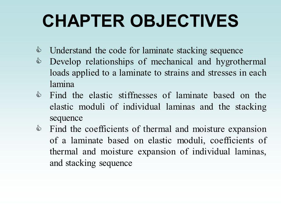 CHAPTER OBJECTIVES CUnderstand the code for laminate stacking sequence CDevelop relationships of mechanical and hygrothermal loads applied to a lamina