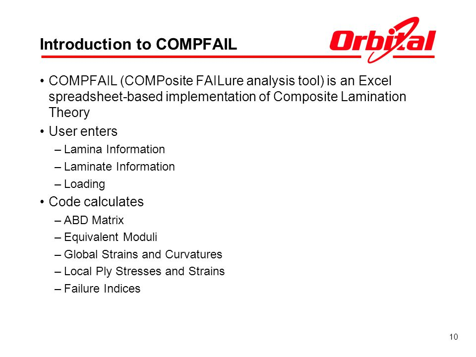 10 Introduction to COMPFAIL COMPFAIL (COMPosite FAILure analysis tool) is an Excel spreadsheet-based implementation of Composite Lamination Theory User enters –Lamina Information –Laminate Information –Loading Code calculates –ABD Matrix –Equivalent Moduli –Global Strains and Curvatures –Local Ply Stresses and Strains –Failure Indices
