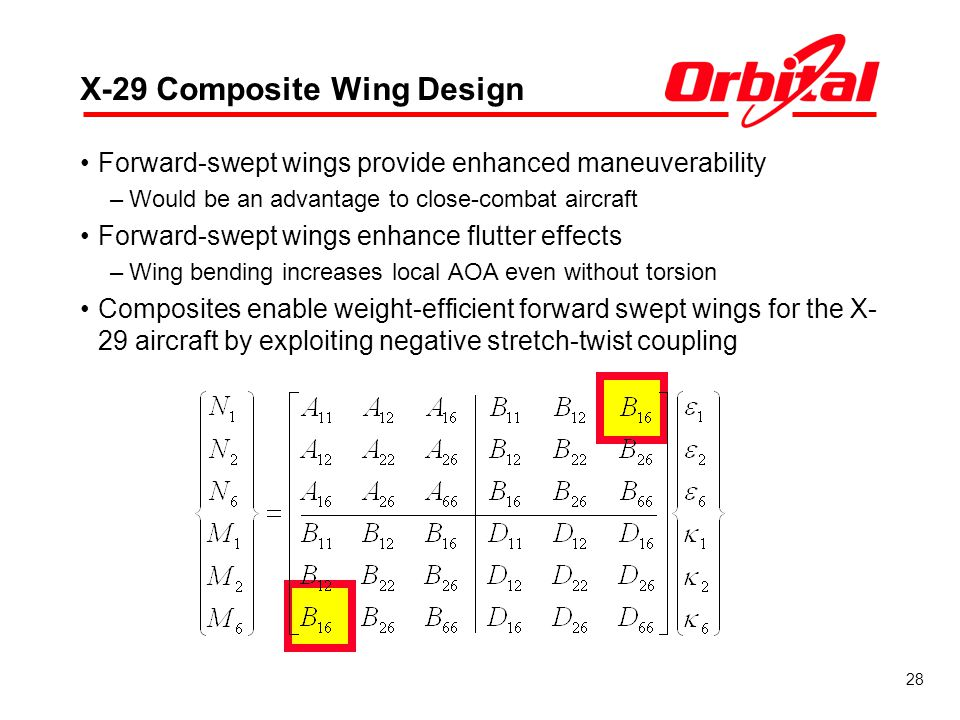 28 X-29 Composite Wing Design Forward-swept wings provide enhanced maneuverability –Would be an advantage to close-combat aircraft Forward-swept wings