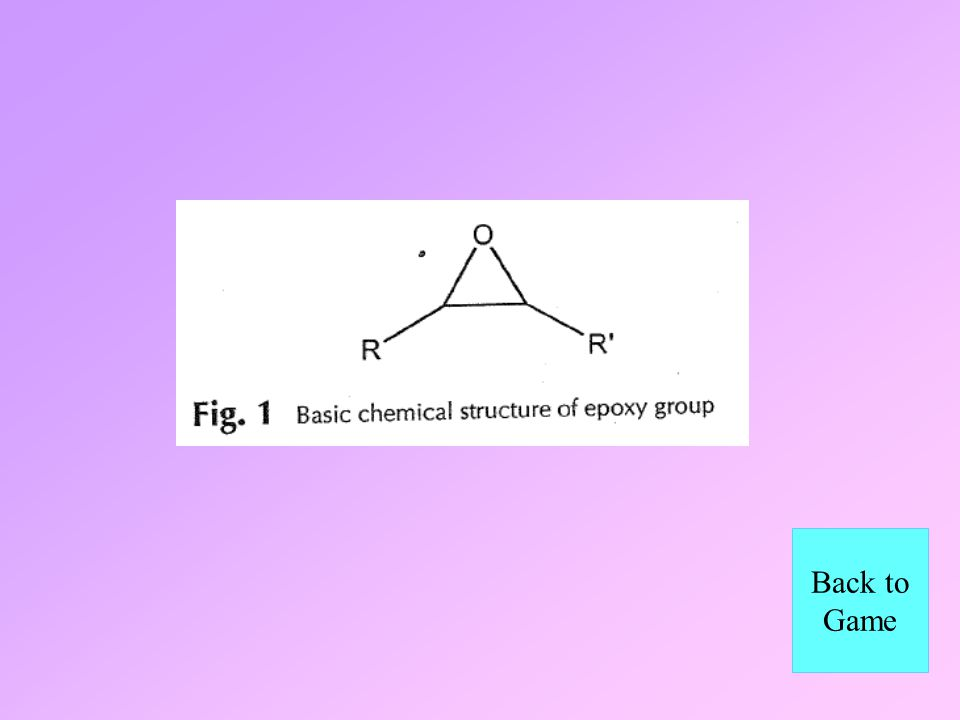 This is the basic chemical structure of an epoxide group on all epoxy resins What is...