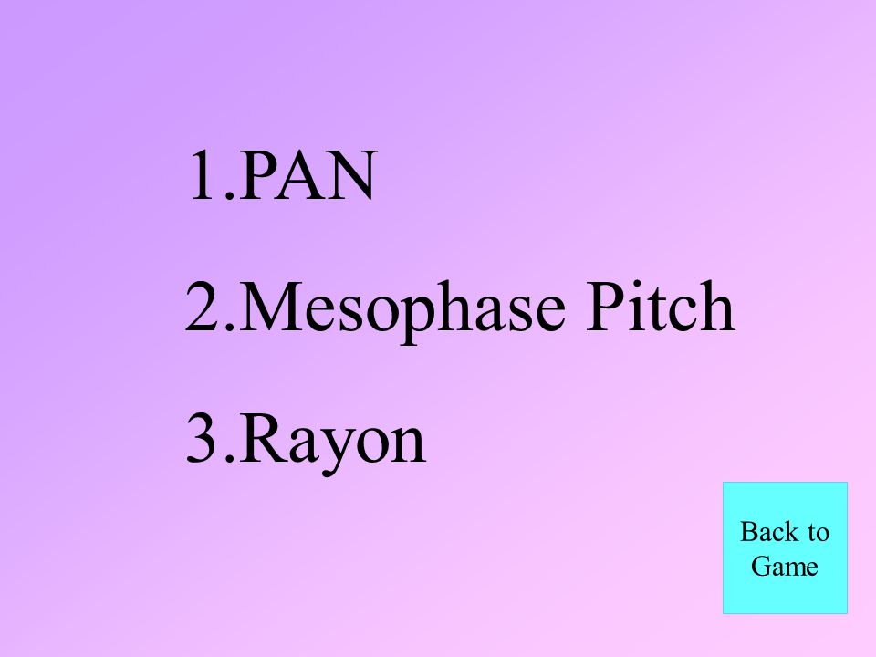 1.PAN 2.Mesophase Pitch 3.Rayon Back to Game
