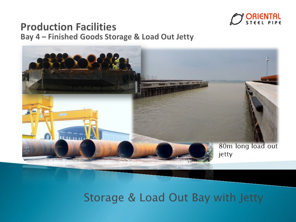 Storage & Load Out Bay with Jetty 80m long load out jetty