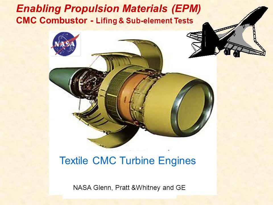Textile CMC Turbine Engines Enabling Propulsion Materials (EPM) CMC Combustor - Lifing & Sub-element Tests NASA Glenn, Pratt &Whitney and GE