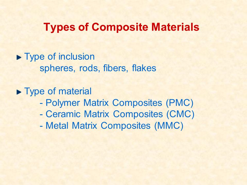 Types of Composite Materials Type of inclusion spheres, rods, fibers, flakes Type of material - Polymer Matrix Composites (PMC) - Ceramic Matrix Compo