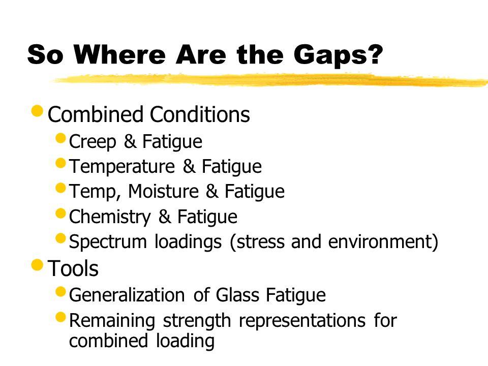 So Where Are the Gaps? Combined Conditions Creep & Fatigue Temperature & Fatigue Temp, Moisture & Fatigue Chemistry & Fatigue Spectrum loadings (stres