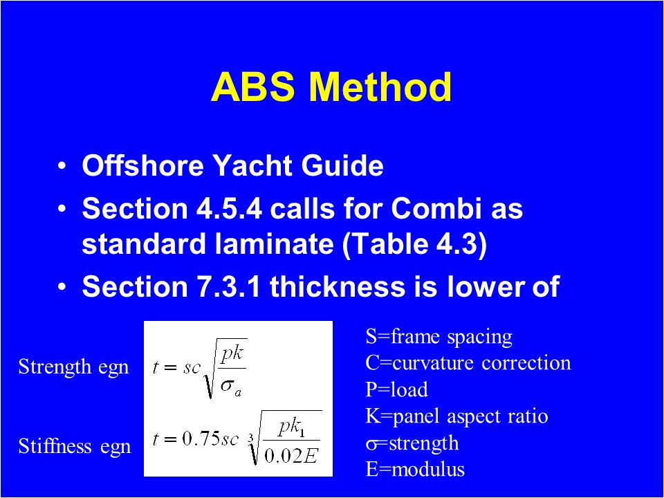 ABS Method Offshore Yacht Guide Section 4.5.4 calls for Combi as standard laminate (Table 4.3) Section 7.3.1 thickness is lower of S=frame spacing C=curvature correction P=load K=panel aspect ratio =strength E=modulus Strength egn Stiffness egn