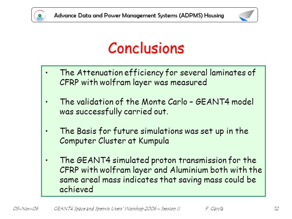 Advance Data and Power Management Systems (ADPMS) Housing Conclusions The Attenuation efficiency for several laminates of CFRP with wolfram layer was