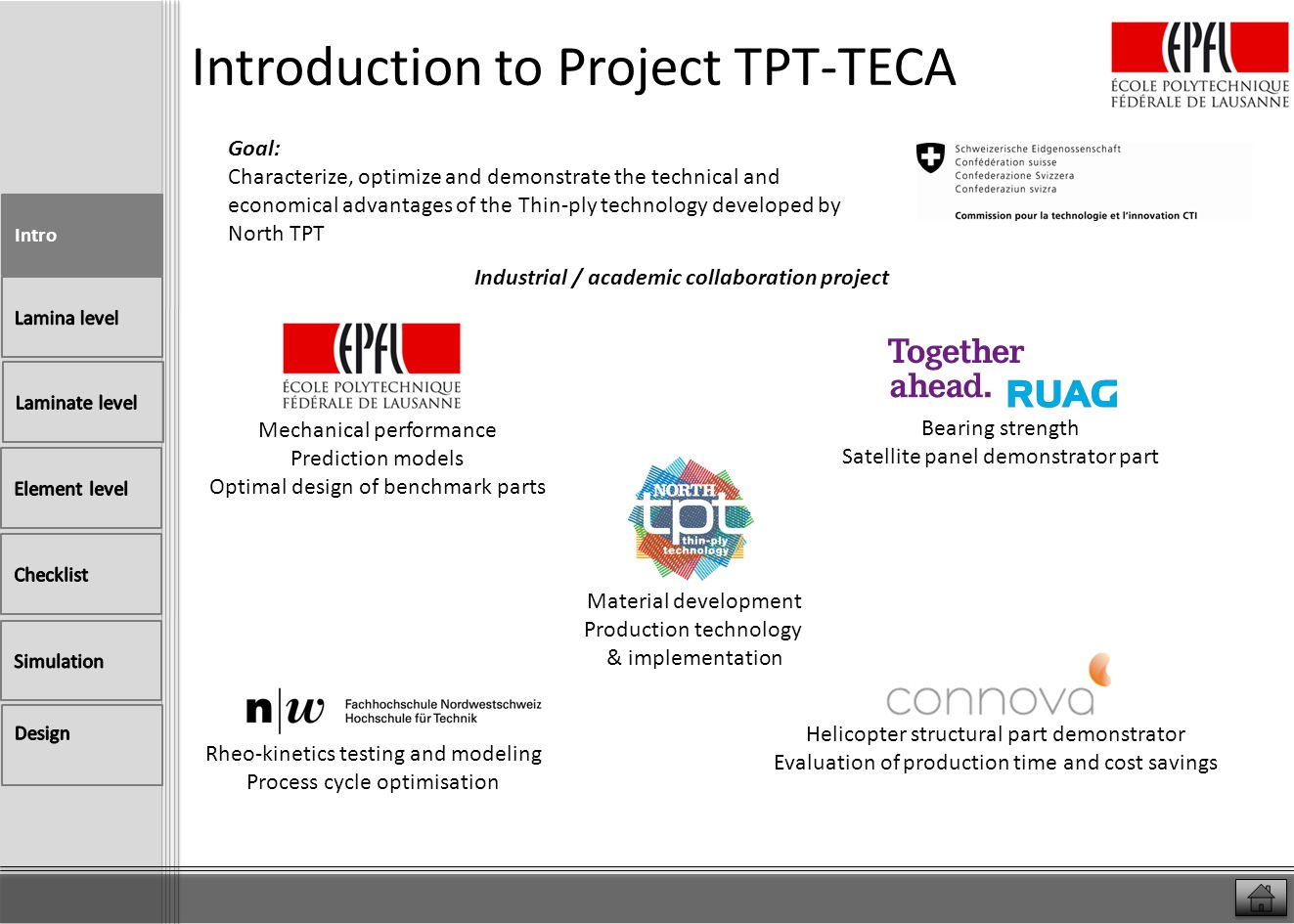 Introduction to Project TPT-TECA TPT-TECA CTI project Today End: march 2014 Project timeline 24 months start March 1st 2012 WP6: vaccuum bag process optimization