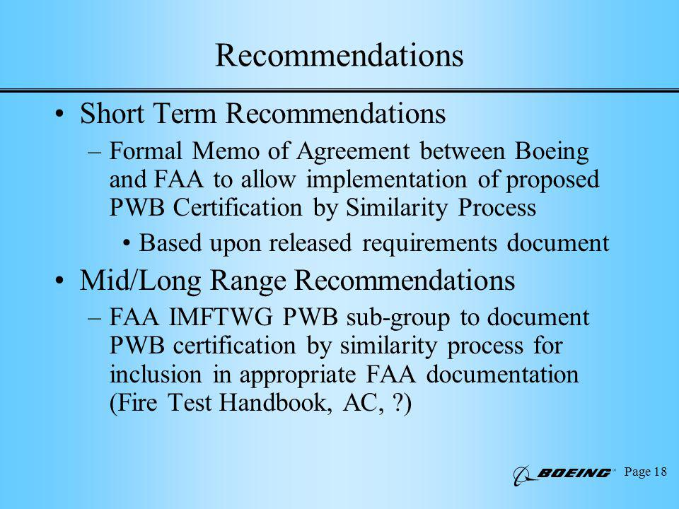 Page 18 Recommendations Short Term Recommendations –Formal Memo of Agreement between Boeing and FAA to allow implementation of proposed PWB Certification by Similarity Process Based upon released requirements document Mid/Long Range Recommendations –FAA IMFTWG PWB sub-group to document PWB certification by similarity process for inclusion in appropriate FAA documentation (Fire Test Handbook, AC, )