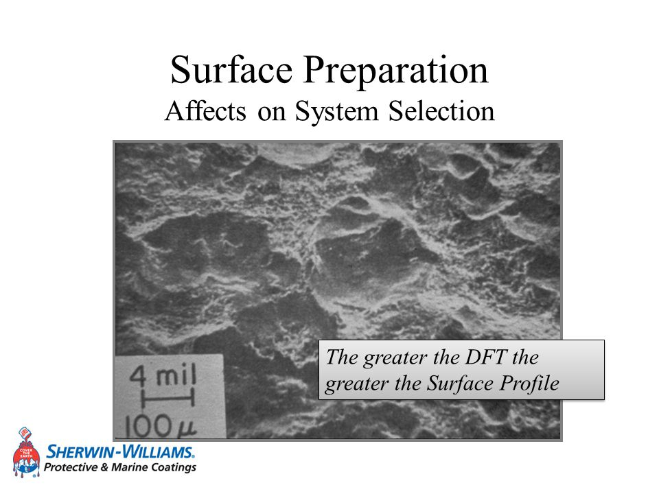 Surface Preparation Affects on System Selection The greater the DFT the greater the Surface Profile