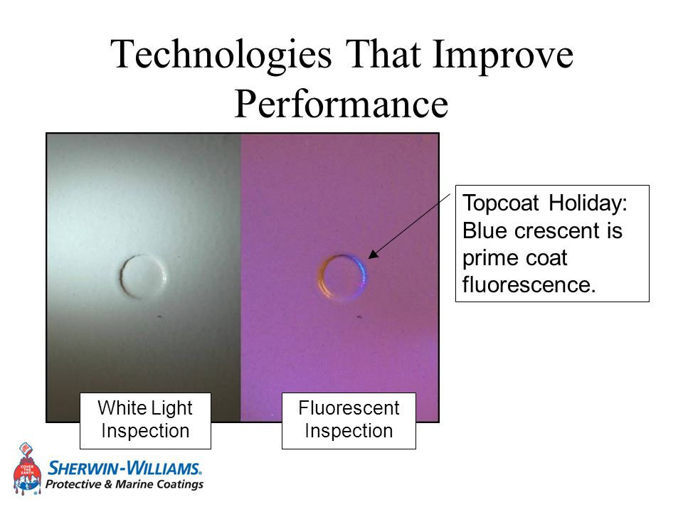Technologies That Improve Performance White Light Inspection Fluorescent Inspection Topcoat Holiday: Blue crescent is prime coat fluorescence.