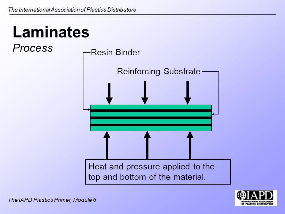 The International Association of Plastics Distributors The IAPD Plastics Primer, Module 6 Laminates Process Heat and pressure applied to the top and b