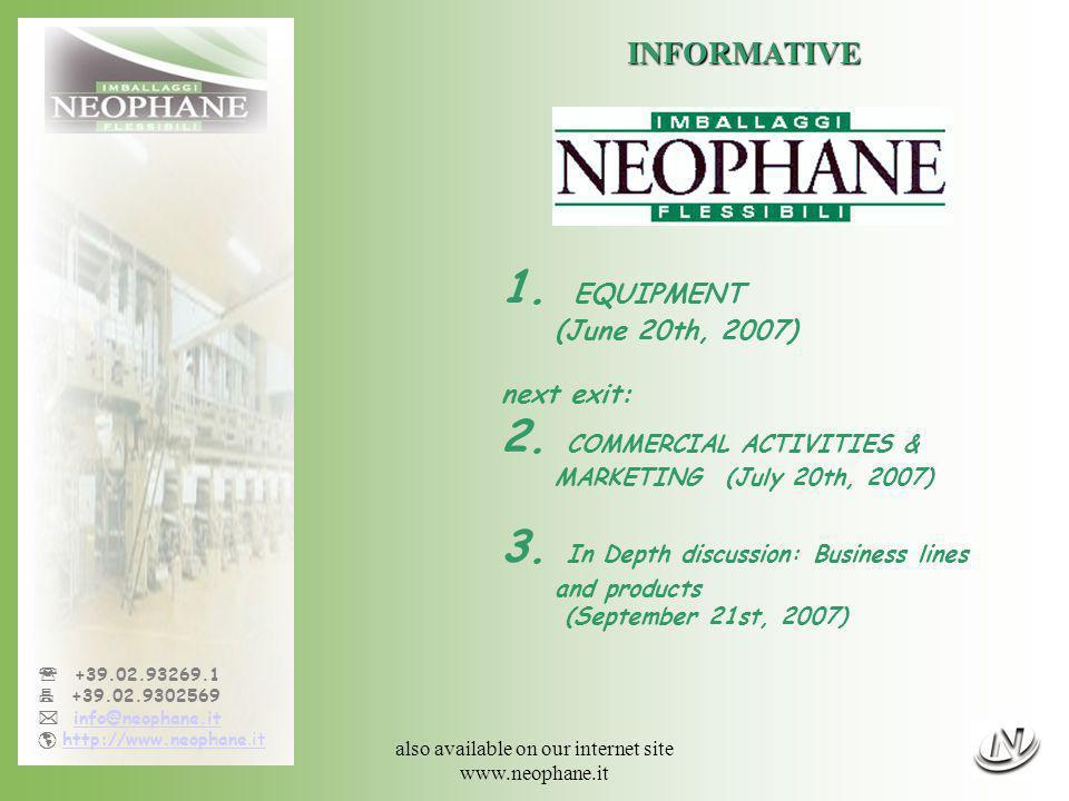 Informative n°1, 06/20/07 - page 2/12 +39.02.93269.1 +39.02.9302569 info@neophane.it http://www.neophane.ithttp://www.neophane.it INFORMATIVE N° 1 06/22/2007 1 OUR EQUIPMENT