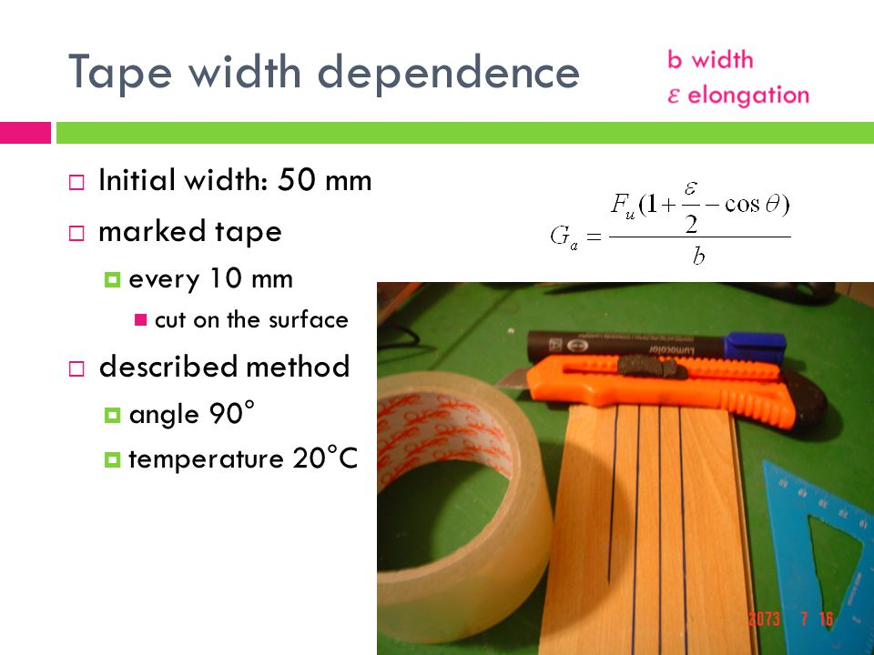Tape width dependence Initial width: 50 mm marked tape every 10 mm cut on the surface described method angle 90° temperature 20°C