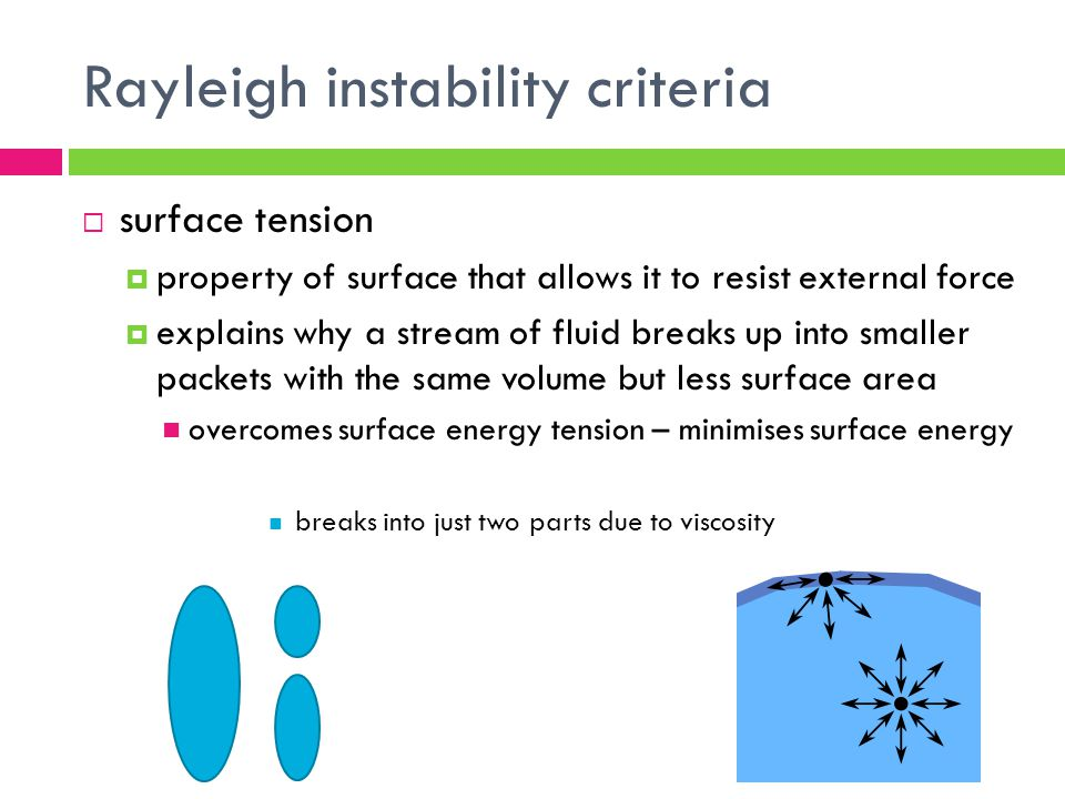 Rayleigh instability criteria surface tension property of surface that allows it to resist external force explains why a stream of fluid breaks up int
