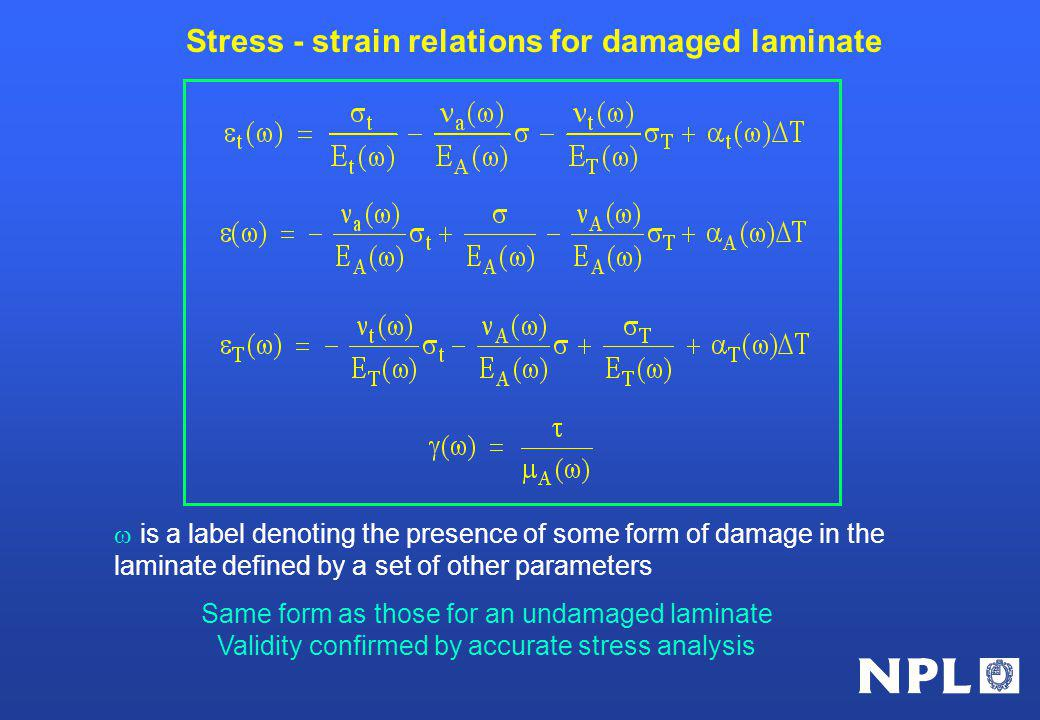 Stress - strain relations for damaged laminate is a label denoting the presence of some form of damage in the laminate defined by a set of other parameters Same form as those for an undamaged laminate Validity confirmed by accurate stress analysis