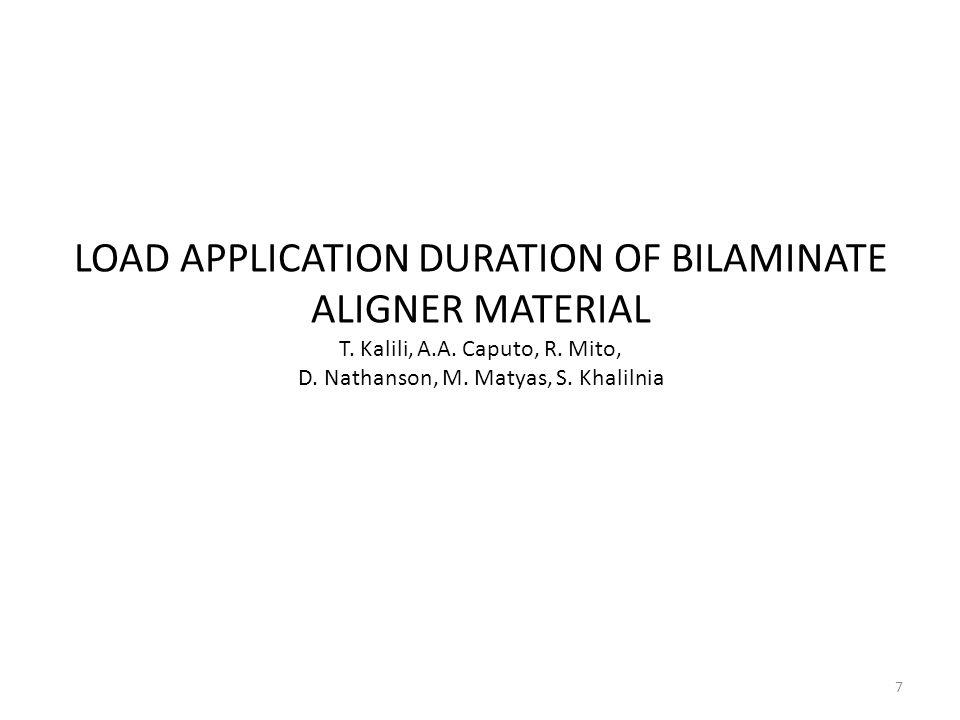 7 LOAD APPLICATION DURATION OF BILAMINATE ALIGNER MATERIAL T. Kalili, A.A. Caputo, R. Mito, D. Nathanson, M. Matyas, S. Khalilnia