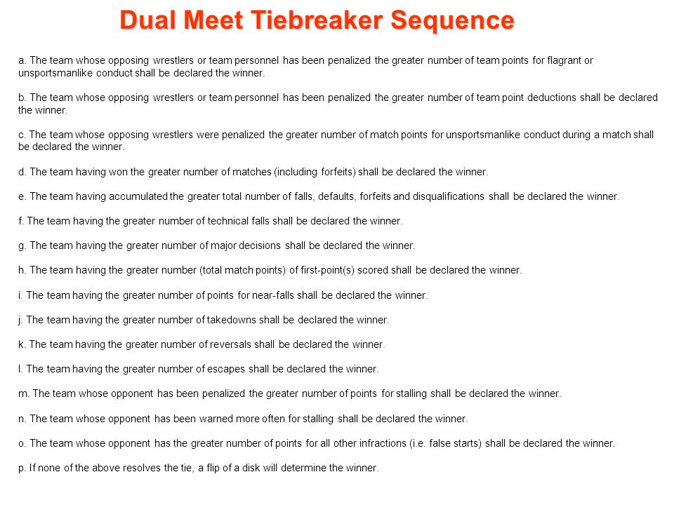 Dual Meet Tiebreaker Sequence a.