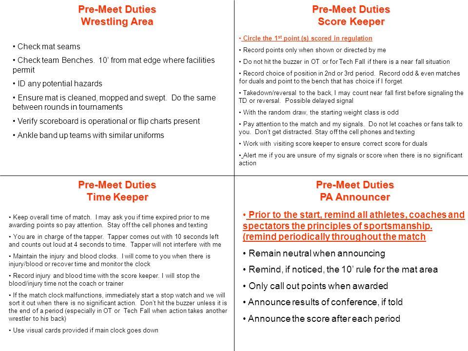 Pre-Meet Duties Time Keeper Pre-Meet Duties Score Keeper Keep overall time of match.