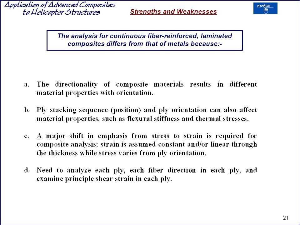 Application of Advanced Composites to Helicopter Structures Strengths and Weaknesses The analysis for continuous fiber-reinforced, laminated composite