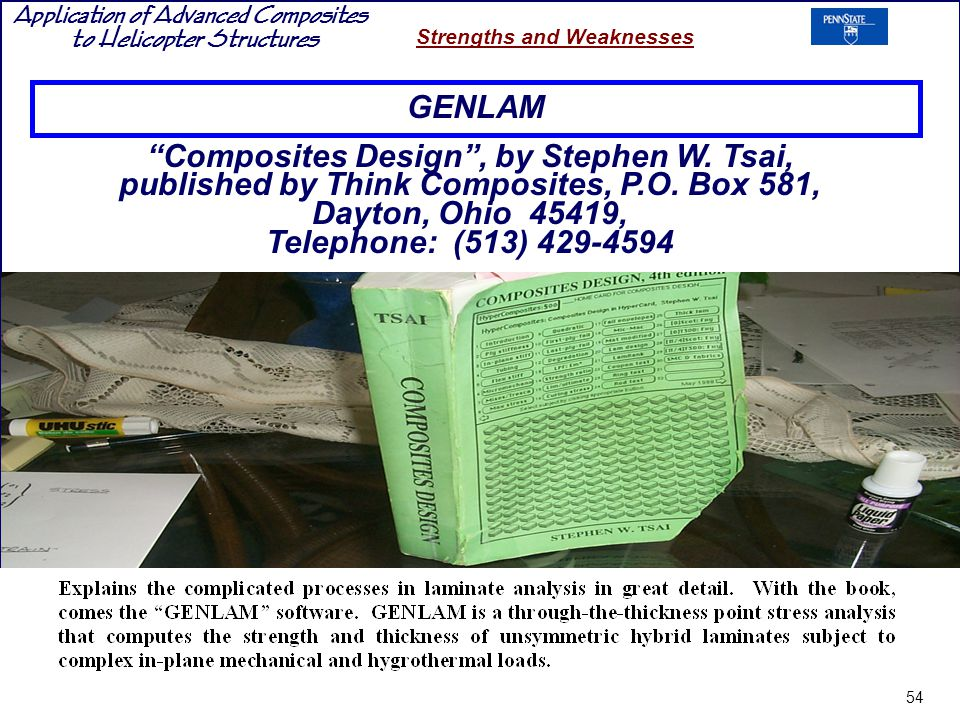 Application of Advanced Composites to Helicopter Structures Strengths and Weaknesses GENLAM Composites Design, by Stephen W.