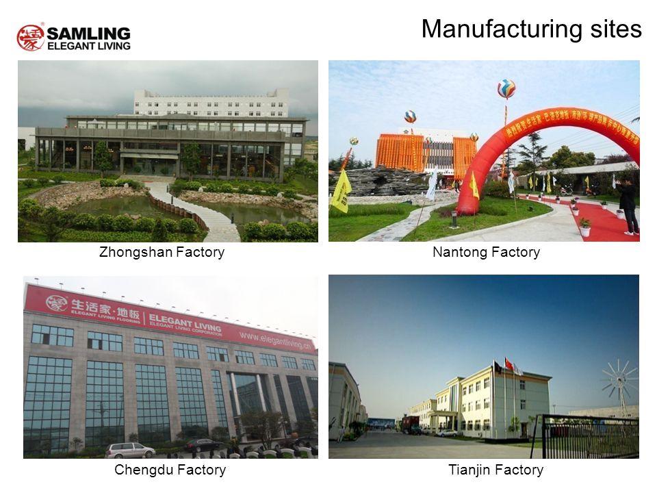 Chengdu Factory Zhongshan FactoryNantong Factory Tianjin Factory Manufacturing sites