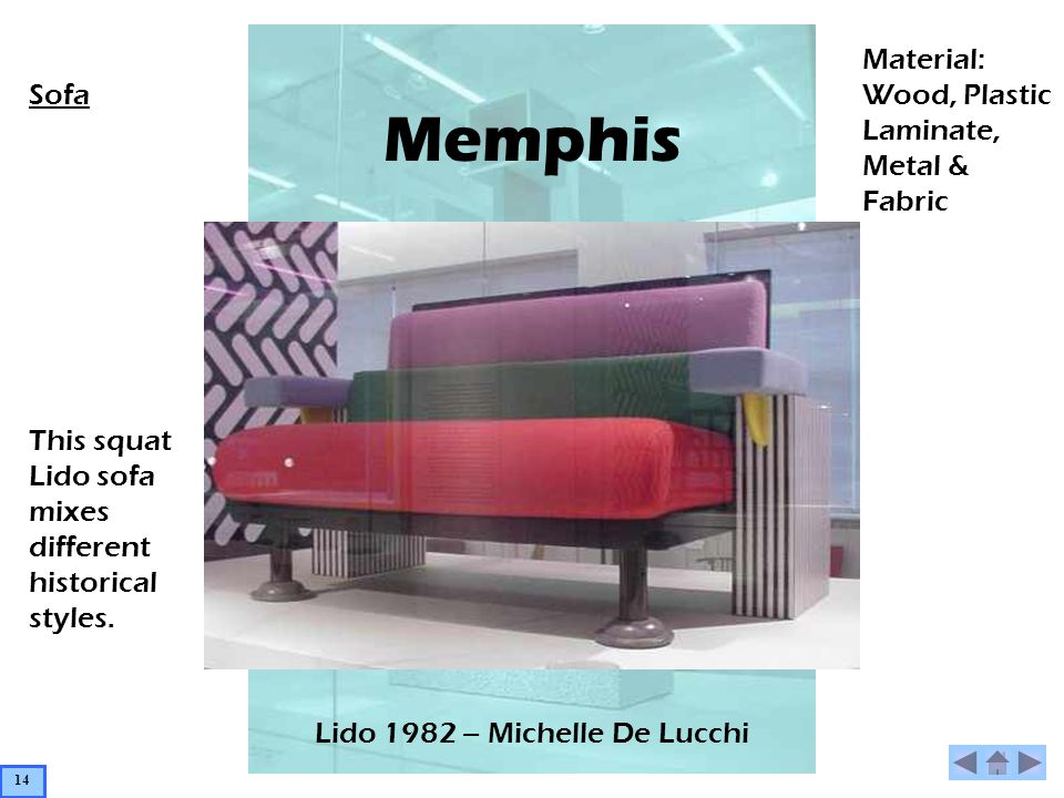 Memphis Lido 1982 – Michelle De Lucchi Material: Wood, Plastic Laminate, Metal & Fabric Sofa This squat Lido sofa mixes different historical styles. 1