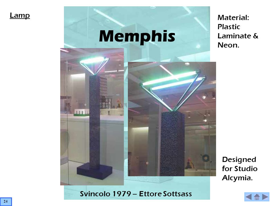 Memphis Svincolo 1979 – Ettore Sottsass Material: Plastic Laminate & Neon.