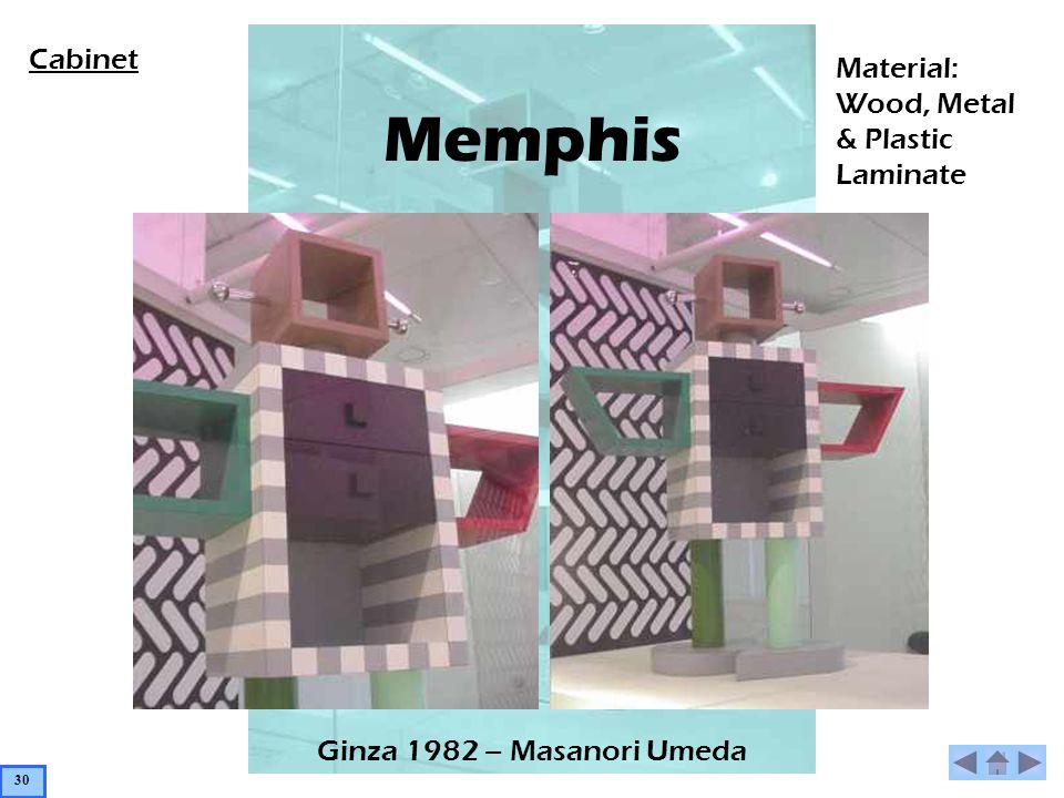 Memphis Ginza 1982 – Masanori Umeda Material: Wood, Metal & Plastic Laminate Cabinet 30