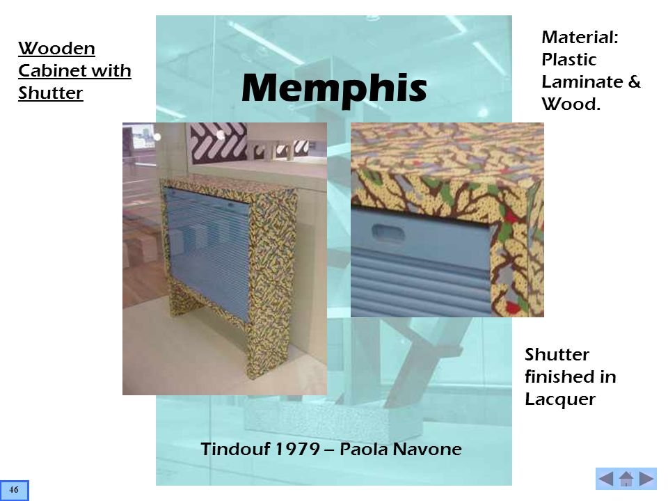 Memphis Tindouf 1979 – Paola Navone Wooden Cabinet with Shutter Material: Plastic Laminate & Wood. Shutter finished in Lacquer 46