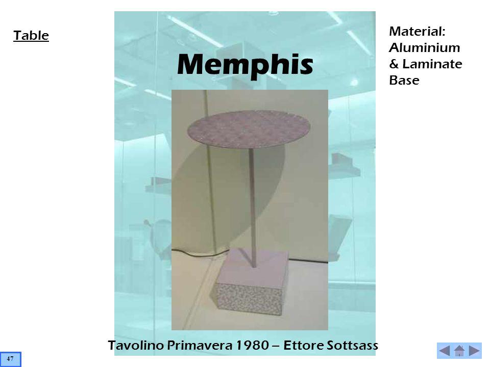 Memphis Tavolino Primavera 1980 – Ettore Sottsass Table Material: Aluminium & Laminate Base 47
