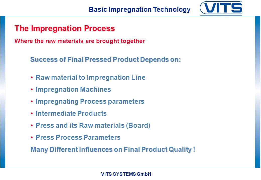 VITS SYSTEMS GmbH Basic Impregnation Technology Intermediate Papers Films for Low Pressure Direct lamination onto Boards (LPL) Single Opening Press Continuous Double Belt Press High Pressure Processing into Multi Layered laminates (HPL & CPL) Multi Opening Press Continuous Double Belt Press Products of Impregnation
